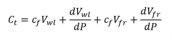 This equation, which we derive from the mass balance equation, indicates that storage has four components: compressibility of water in the wellbore and fracture and changing wellbore and fracture volume.