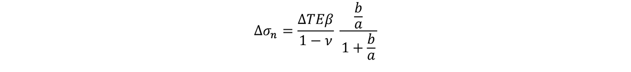 The induced change in stress in the direction perpendicular to the long axis of the ellipse (equivalent to the induced change in normal stress on the fracture)