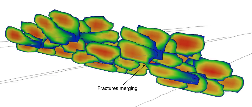 Fractures merging in ResFrac using continuous fracture front tracking algorithm with multi-layer tip elements